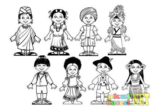 Dünya çocukları Boyama Sayfası Okul öncesi Okul öncesi