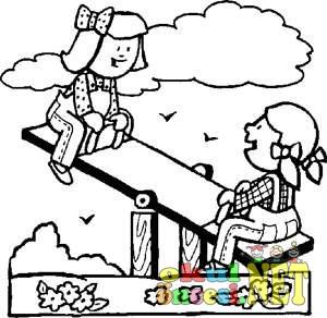 Tahterevallide Oynayan çocuklar Boyama Okul öncesi Okul