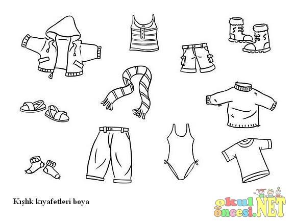 Kışlık Kıyafetleri Gruplandırma Okul öncesi Okul öncesi