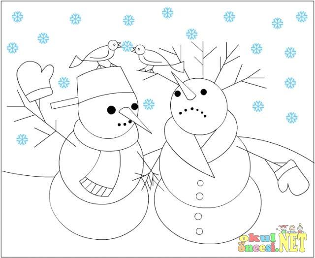 Kardan Adam Kardan Kadın Boyama Okul öncesi Okul öncesi