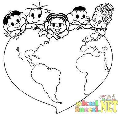 Kalpten Dünya üzerinde çocuklar Boyama Okul öncesi Okul öncesi