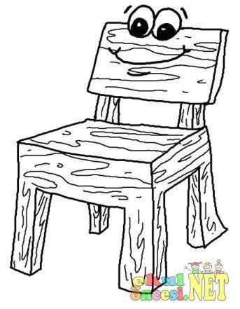 Masa Sandalye Boyama Sayfası Okul öncesi Okul öncesi