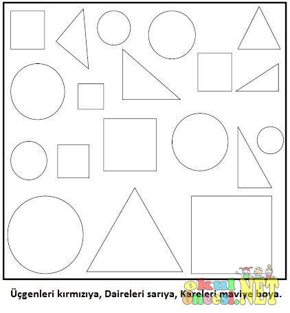 şekilleri Belirtilen Renge Boyama çalışması Okul öncesi Okul