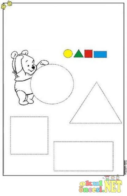 Geometrik şekillerle Ilgili çalışma Sayfaları Okul öncesi Okul