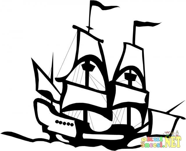 Korsan Gemisi Boyama Sayfası Okul öncesi Okul öncesi