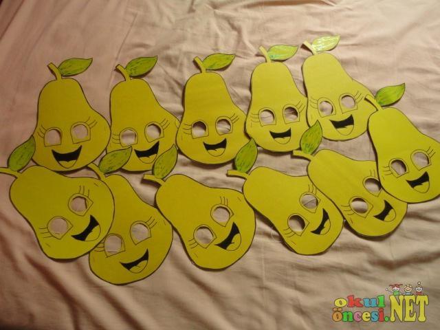 Bir Suru Meyve Sebze Maskesi Ve Kaliplari Okul Oncesi Okul