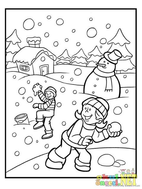 Kış Mevsimi Boyama Sayfaları Okul öncesi Okul öncesi