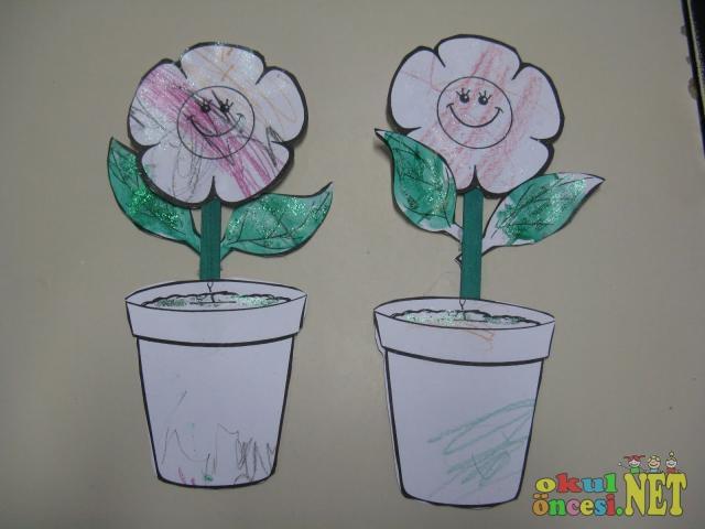 Saksıda çiçek Kalıplı Okul öncesi Okul öncesi Etkinlikleri