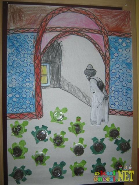 Kaplumbağa Terbiyecisi Konulu Sanat çalışması Okul öncesi Okul